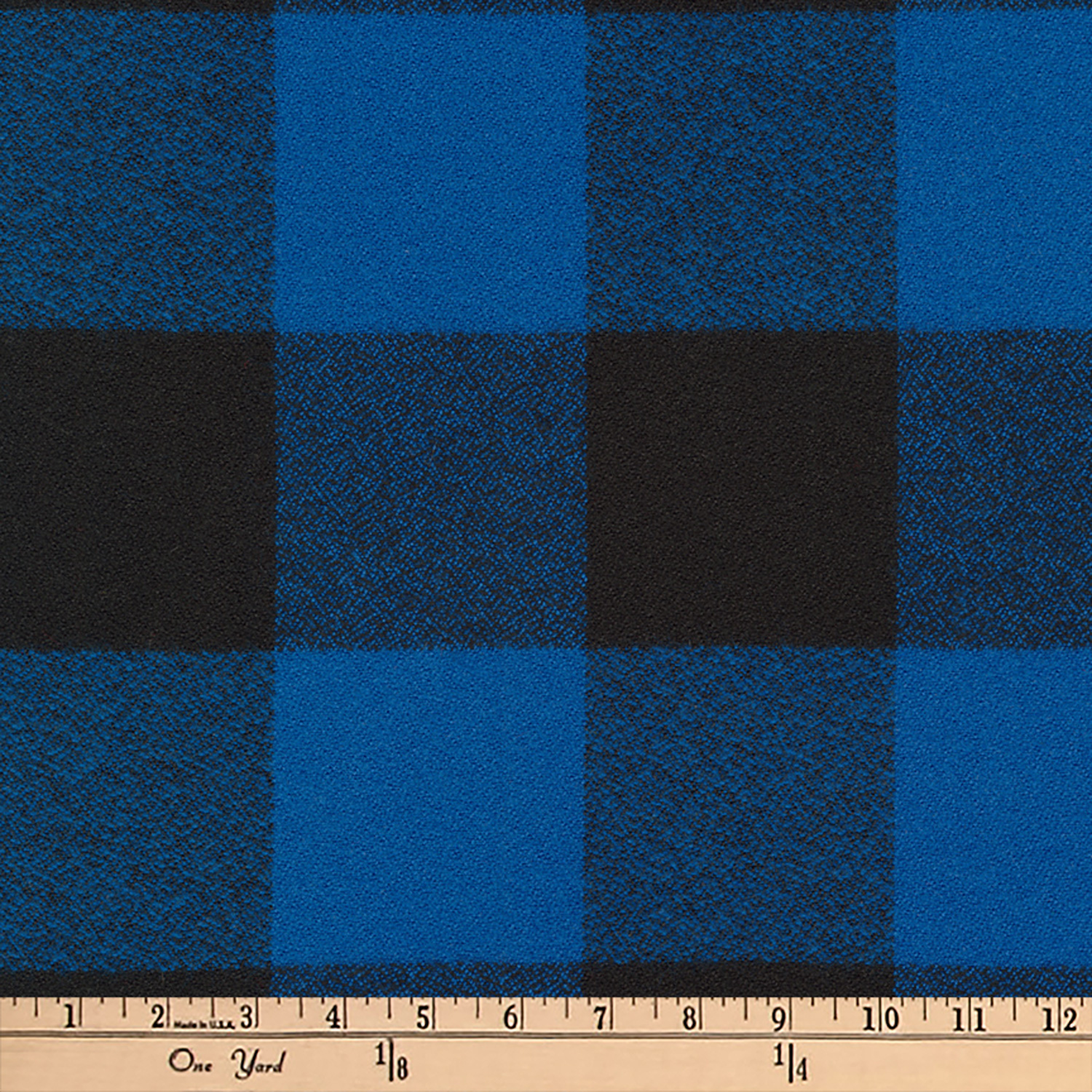 Image of Kaufman Mammoth Flannel Buffalo Check Large Blue Fabric
