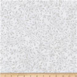 Kaufman Holiday Flourish Metallic Small Leaves Silver