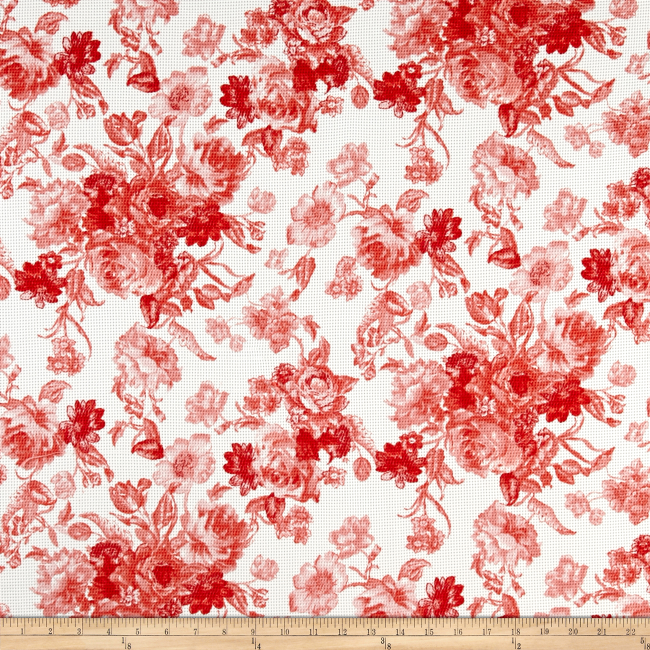 Romantic Floral Pique Knit Print Ivory/Coral Fabric by Neiman in USA