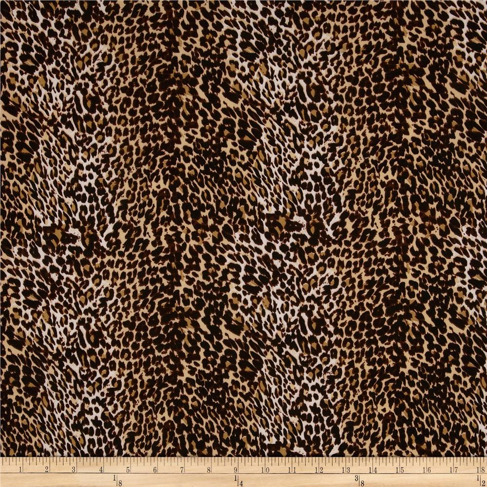 Stretch ITY Jersey Knit Animal Print Tan/Brown