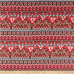 Rayon Challis Aztec Red