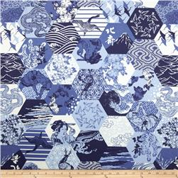 Hokusai Hexagon Patchwork Blue