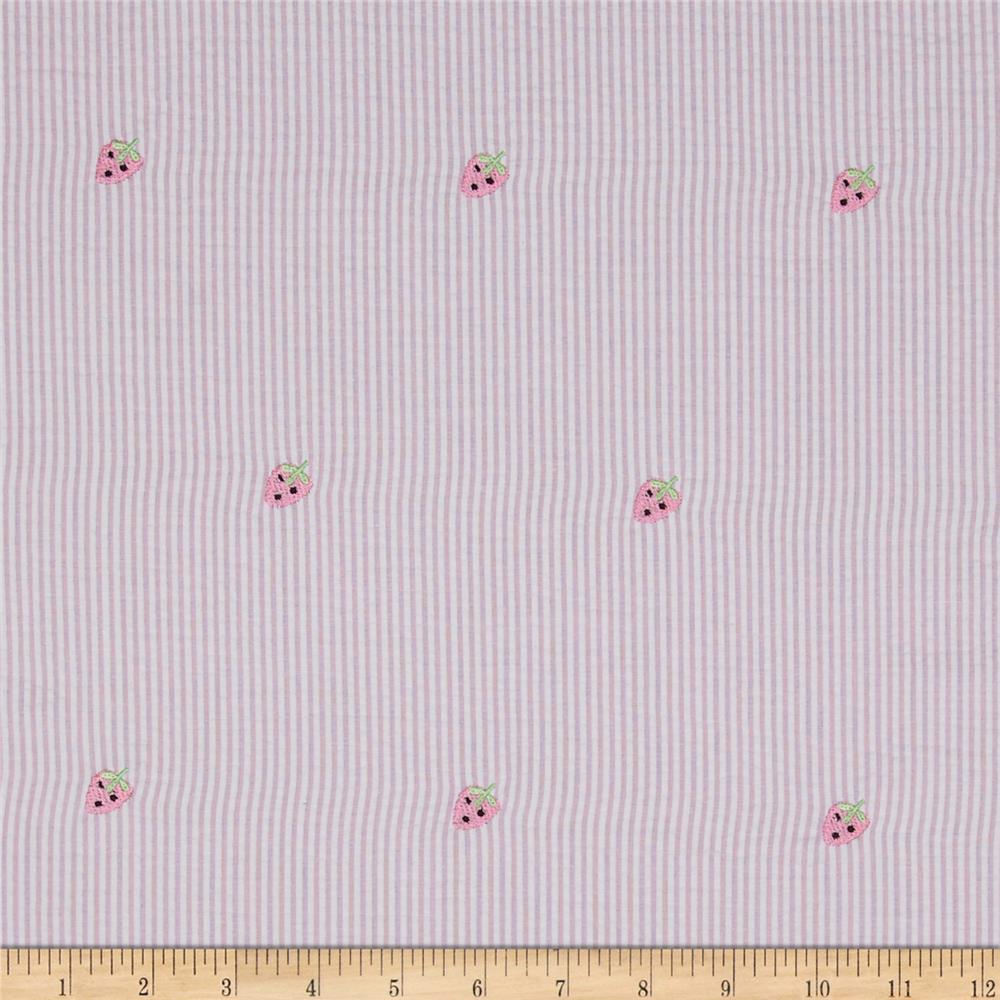 Embroidered Seersucker Strawberries Pink/White