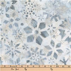 Kaufman Batiks Metallic Noel Geo Flower Snow