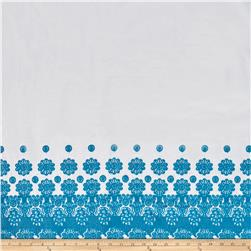 Embroidered Cotton Eyelet Single Border Floral White/Turquoise