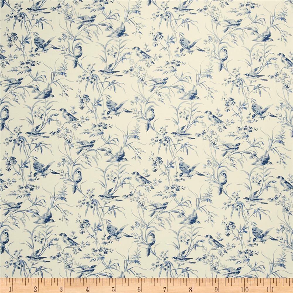 French general bird toile blend indigo discount designer for French toile fabric