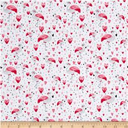Timeless Treasures Flamingos & Hearts White