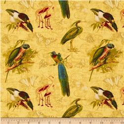 Tropical Travelogue Large Tropical Birds Cream/Multi Fabric