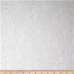 Floral Stretch Lace Ghost White Fabric