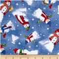 Snow Day Scenic Snowmen Allover Dark Blue