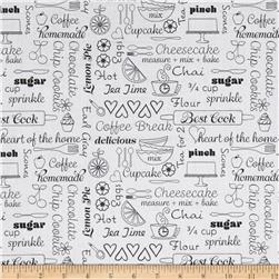 Kitchen Love Delicious Words White