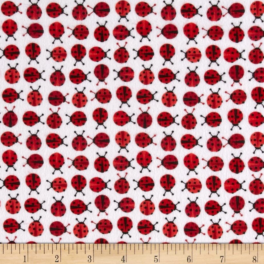Kaufman Urban Zoologie Mini Flannel Ladybugs Cherry