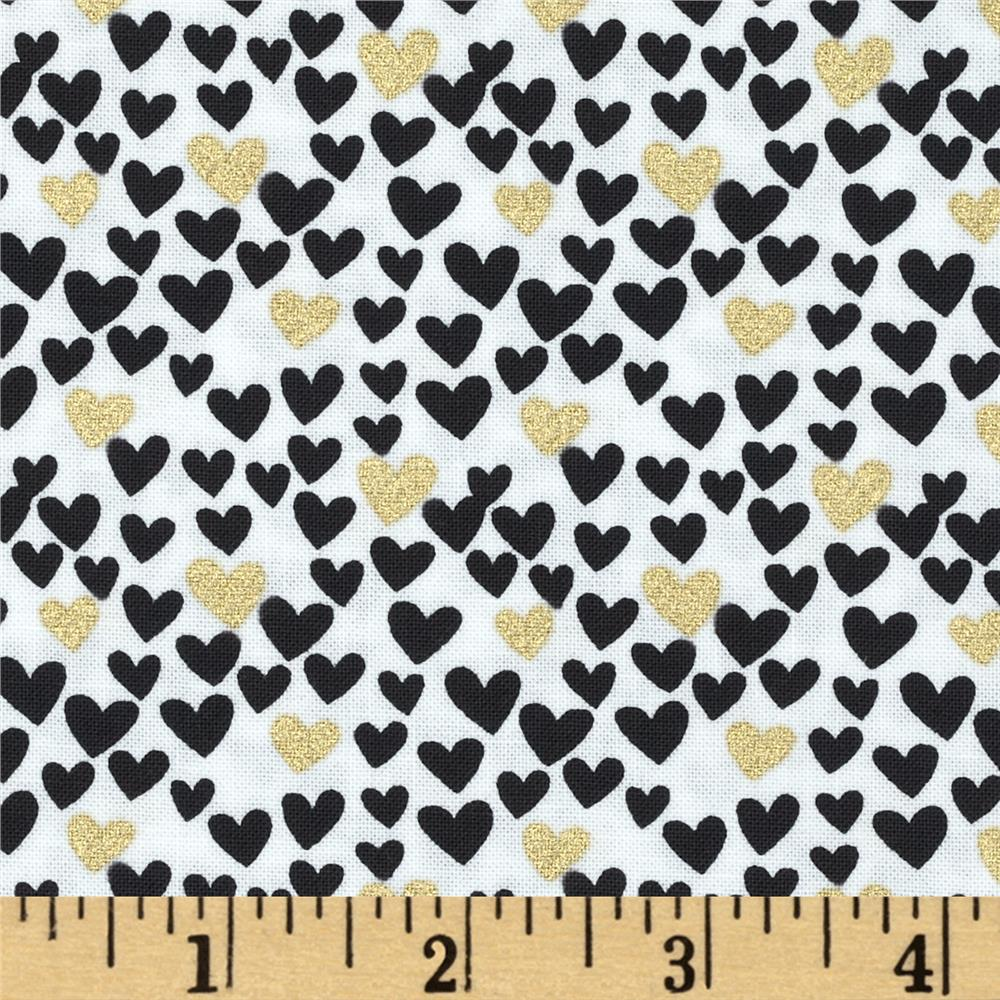 Timeless Treasures Metallic Mini Hearts White