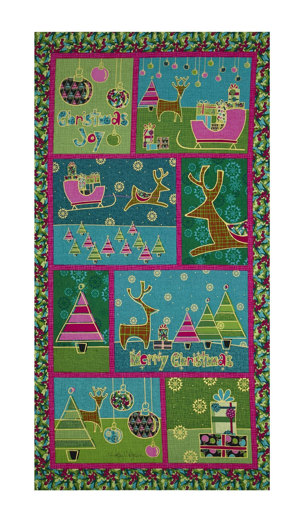 Contempo Merry Little Christmas Metallic Christmas 23'' Panel Green Fabric