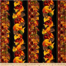 Timeless Treasures Give Thanks Metallic Harvest Border Stripe Black
