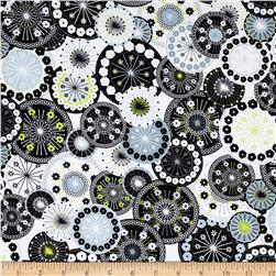 Timeless Treasures Doodle Packed Medallions White