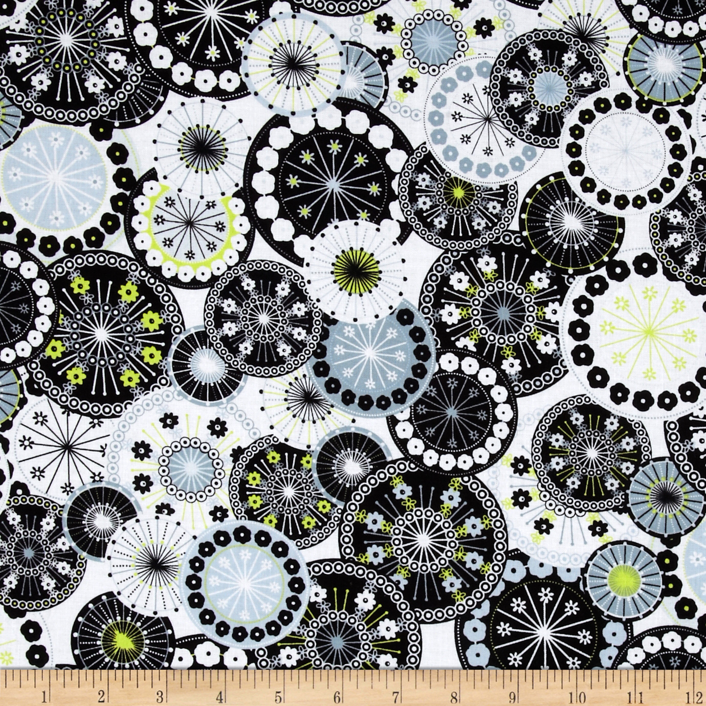 Timeless Treasures Doodle Packed Medallions White Fabric