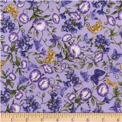 Timeless Treasures Violet Butterflies & Violet Flowers Lavender
