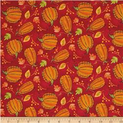 Autumn Road Pumpkins Red