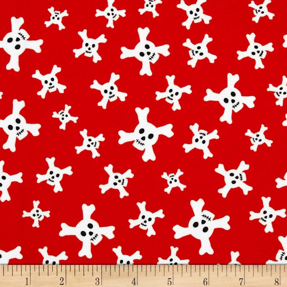 Riley Blake Treasure Map Flannel Skulls Red