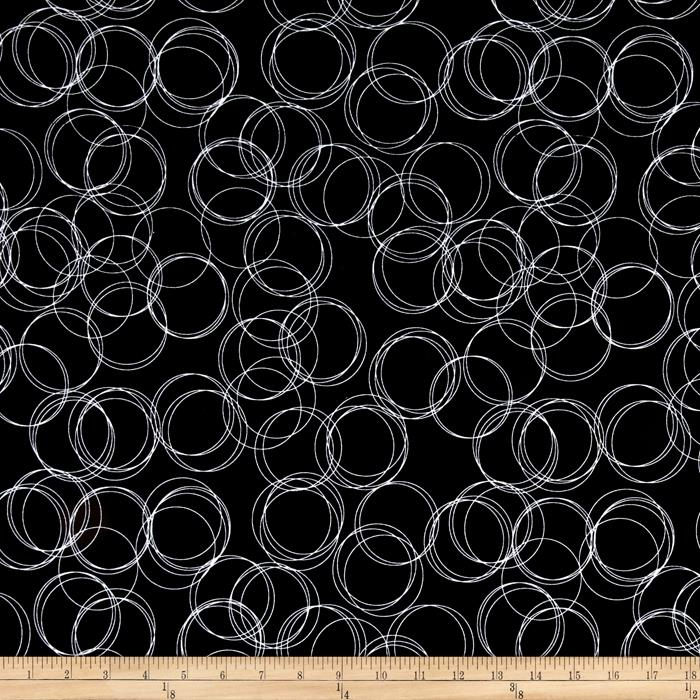 Riley Blake Four Corners Stretch Jersey Knit Circles Black Fabric By The Yard