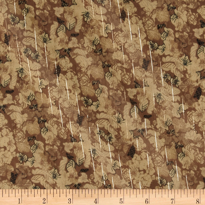 Designer Chiffon Sparkle Stripes Floral Natural Fabric