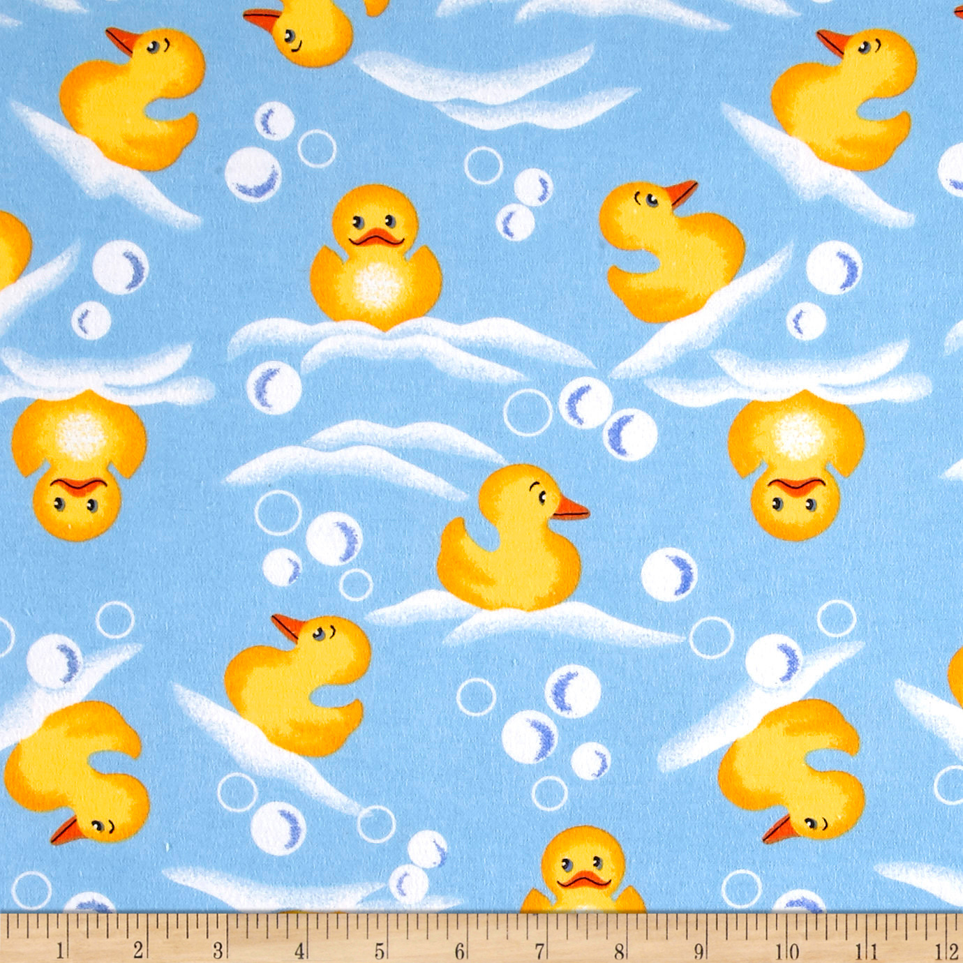 Comfy Flannel Prints Swimming Rubber Ducks Blue Fabric 0554915