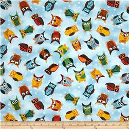 Nite Owls Multi Tossed Owls Blue Fabric