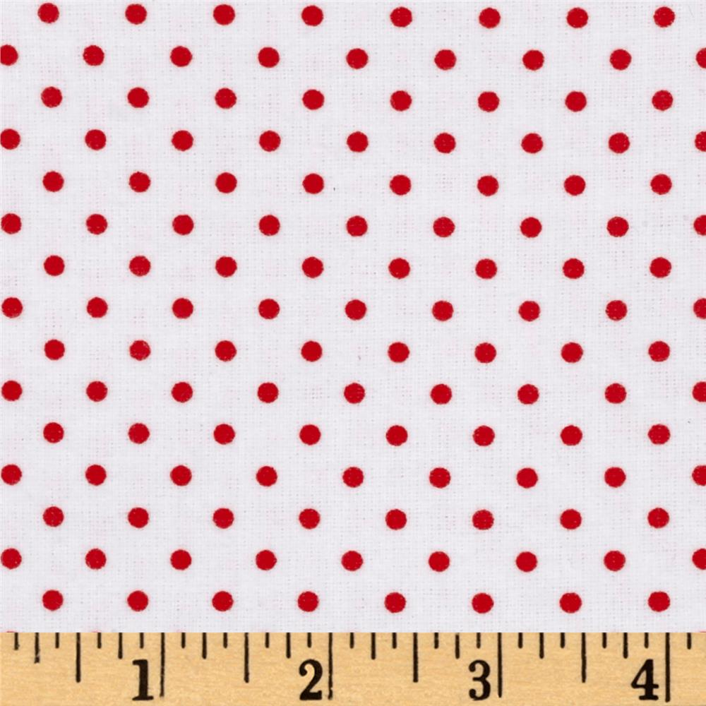 Arctic Antics Flannel Dot White/Red