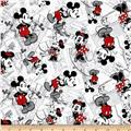 Disney Vintage Mickey Comic Strip Character Toss Black/Red