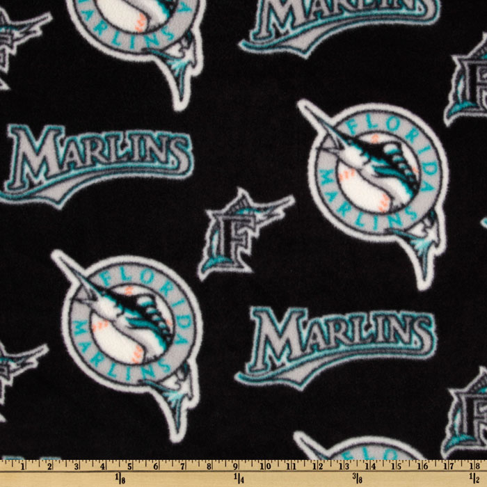 MLB Fleece Florida Marlins Allover Black/Teal Fabric