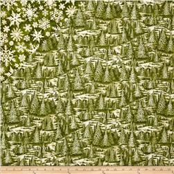 Christmas In The Woods Double Sided Quilted Trees And Stars Green