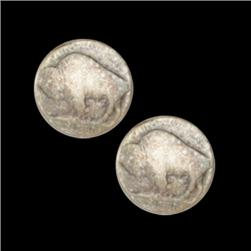 Metal Button 5/8'' Antique Silver Buffalo Nickel