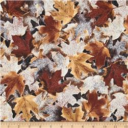 Frosted Fall Packed Maple Leaves Amber