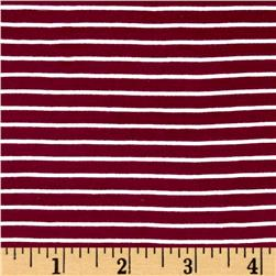 "Rayon Jersey Knit Stripe 1/4"" x 1/8"" Wine/Cream"