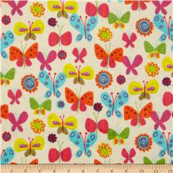 Minky Cuddle Fly Away Flutterby Ivory Fabric