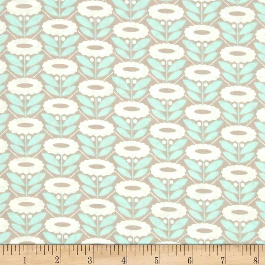 Cloud 9 Organic Morning Song Lazy Daisy Turquoise Fabric By The Yard
