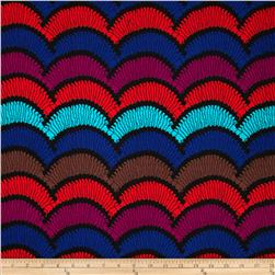 Soft Jersey Knit Scallop Multi/Red/Violet/Black Fabric