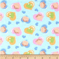 Flannel Prints Monkey Hearts Blue