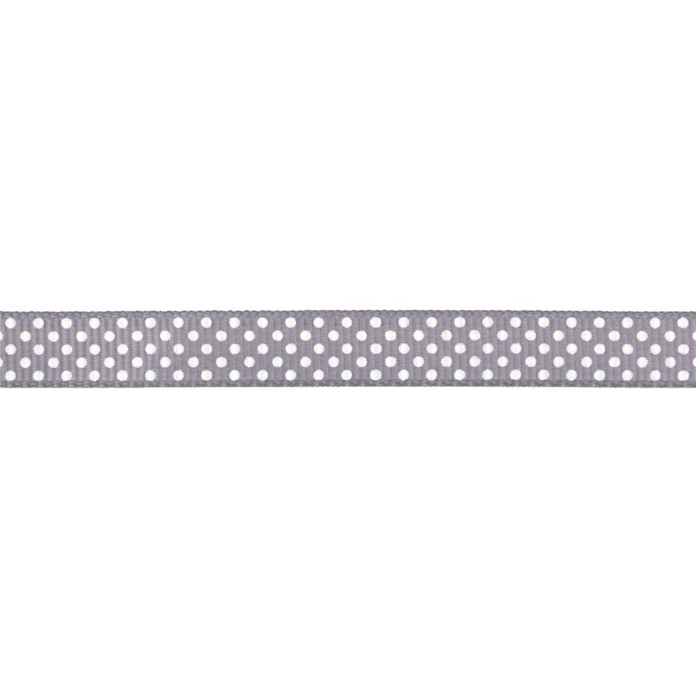 "Riley Blake 3/8"" Grosgrain Ribbon White Dots Grey"