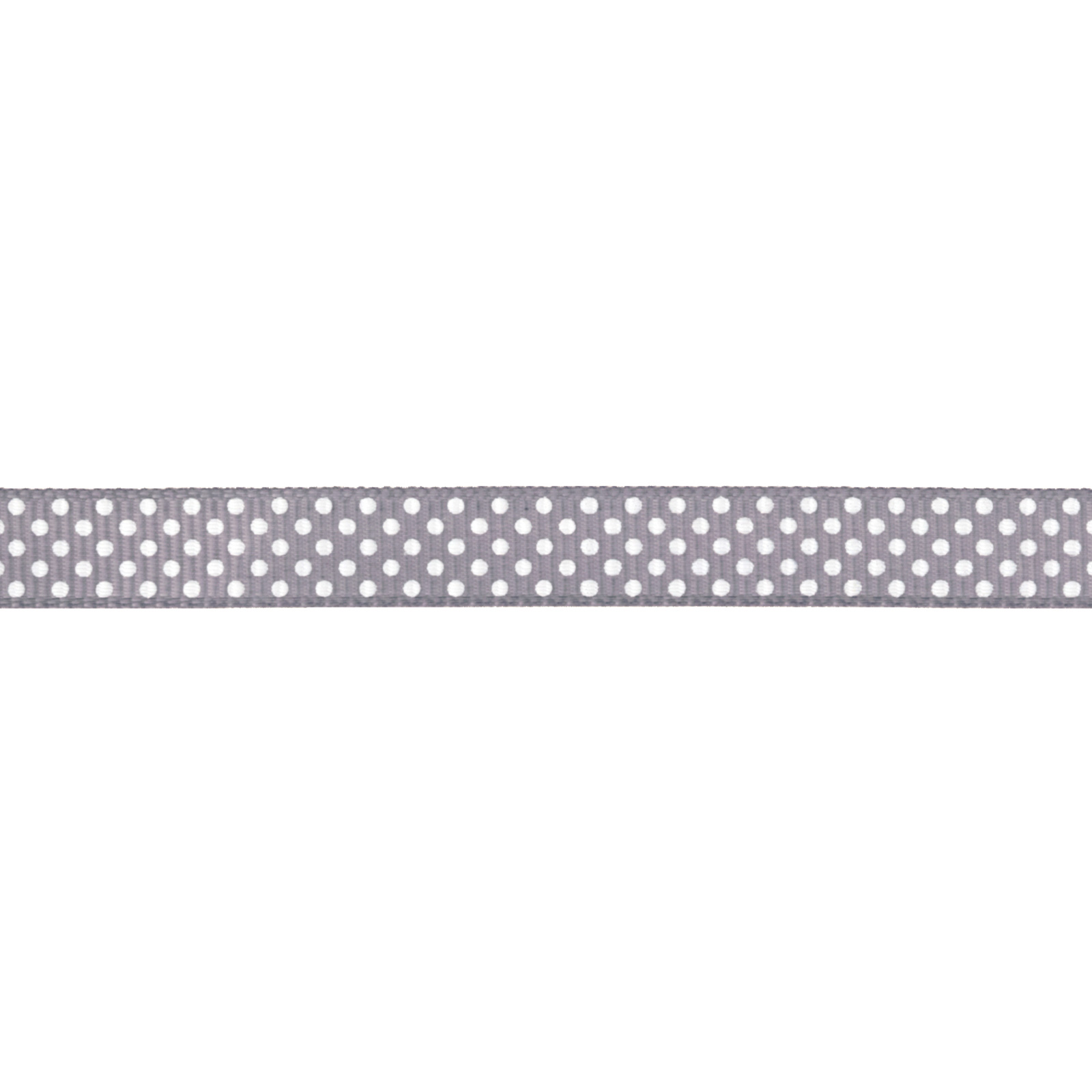 Riley Blake 3/8'' Grosgrain Ribbon White Dots Grey