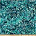 Indian Batik Moody Blues Fern Leaf Blue/Green