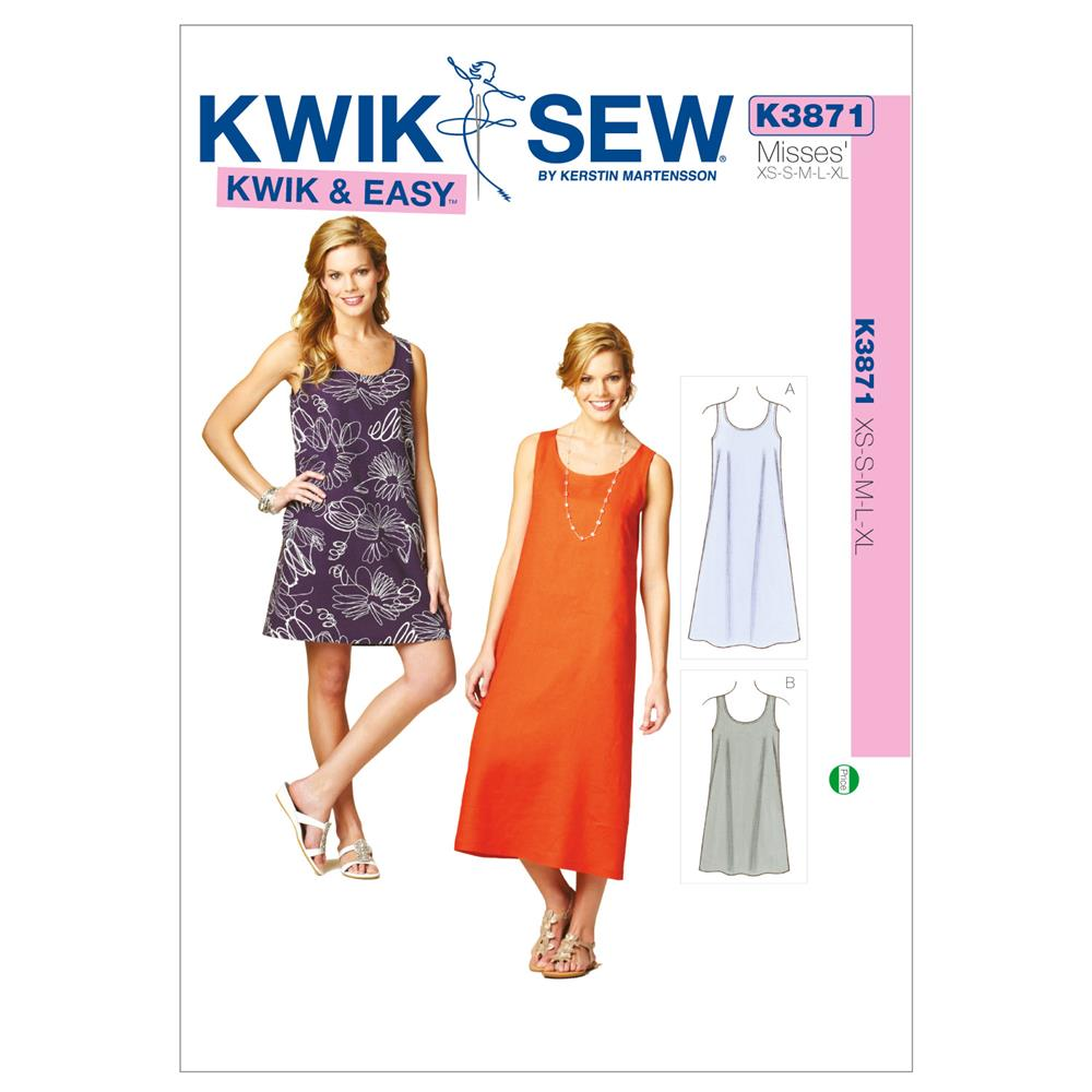 Kwik Sew K40 Misses Summer Dresses Pattern OSZ One Size Best Tank Dress Pattern