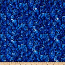 Winter Blues Fan Scallop Dark Blue Fabric