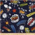 Timeless Treasures Super Heroes Words Navy