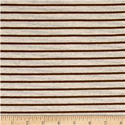 Jersey Knit Mini Stripe Brown on Sugar Cookie