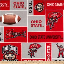 Collegiate Fleece Ohio State University Block Print Red/Grey