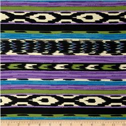 Satin Face Crepe De Chine Southwest Stripe Purple/Black