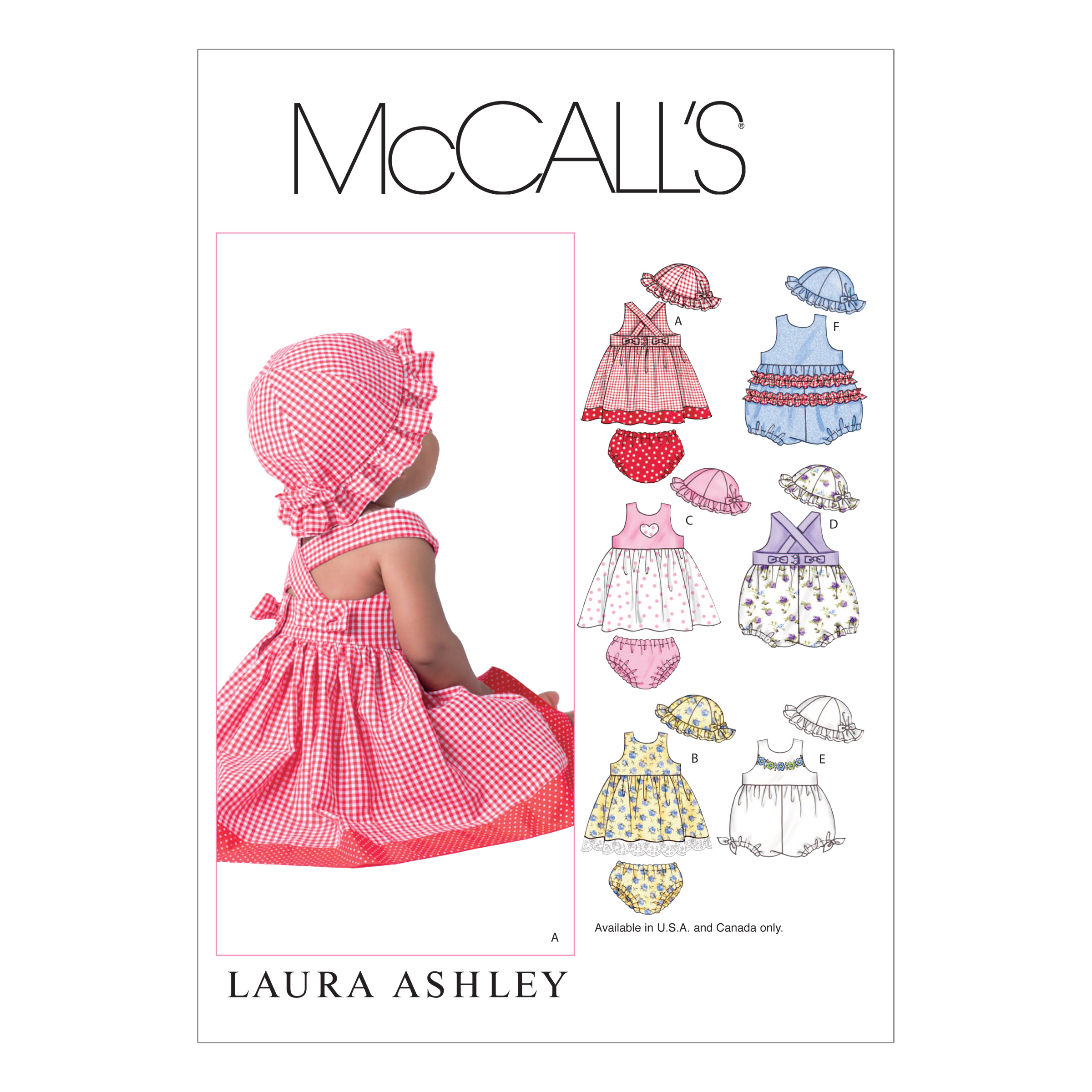 McCall's Infants' Dresses Rompers Panties and Hat Pattern M4424 Size OSZ by Kwik Sew in USA