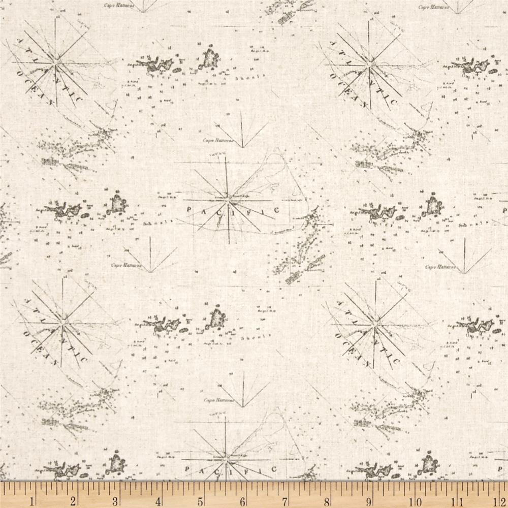 Drift Away Map Sand Fabric By The Yard